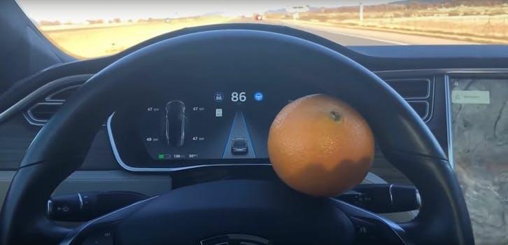 tesla orange autopilot autosteer self-driving hack