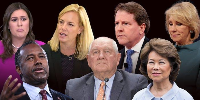 Sarah Sanders, Kirstjen Nielsen, Donald F. McGahn II, Betsy DeVos, Ben Carson, Sonny Perdue and