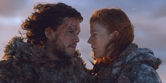 Jon Snow and Ygritte on top of the Wall