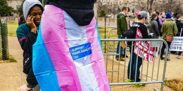 A person wearing a transgender flag as a cape at the Women's march in Washington D.C.