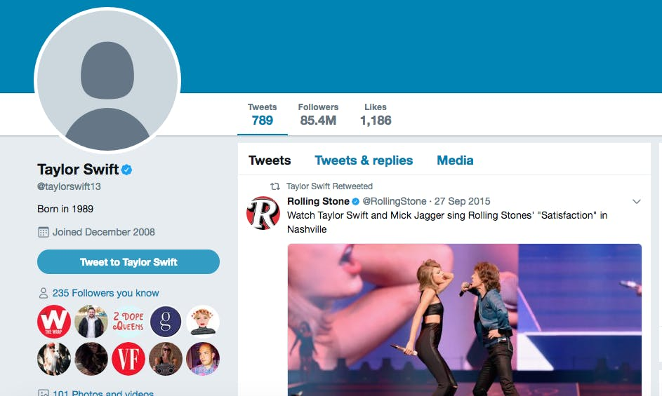taylor swift twitter account