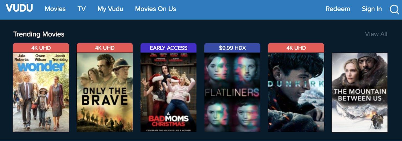 best movie streaming sites vudu