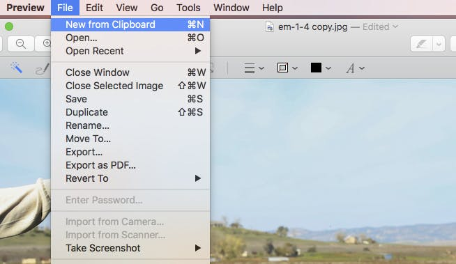 free photo editing: create a new image from Clipboard