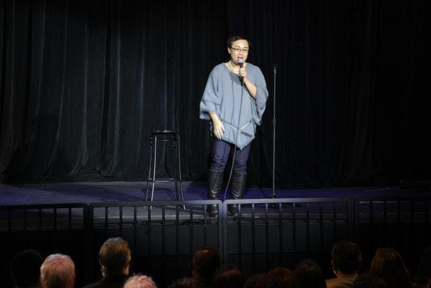 A much happier Robin Tran performing stand-up comedy as openly trans. I have heard a ton of jokes at my expense.