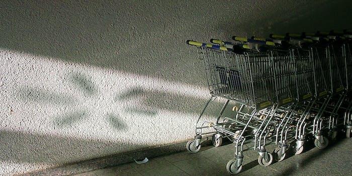 Walmart carts lined up.