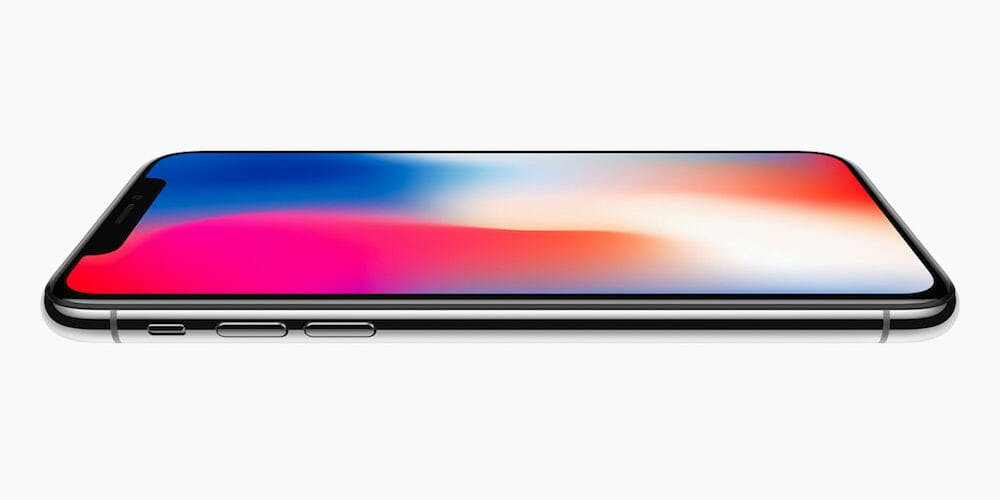 iPhone X from front side view