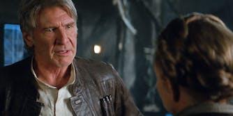 Han Solo talking to Princess Leia