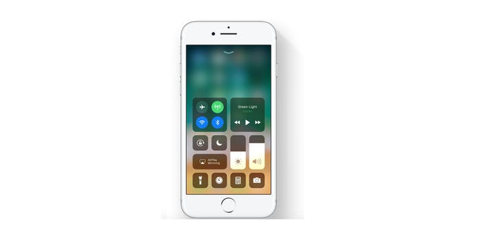 iOS 11 control center on iPhone