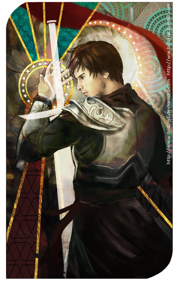 A non-traditional tarot card for the Male Inquisitor from DAI