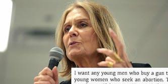Gloria Steinem quote guns abortion viral meme