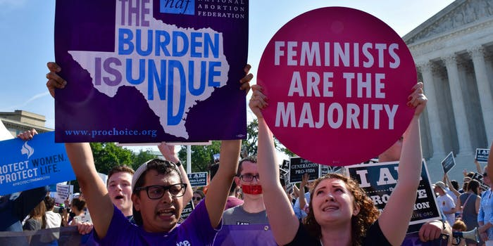 A pro-choice abortion protest outside of the Supreme Court