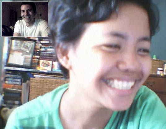 A screenshot of the moment we finally had the guts to see each other on video chat.