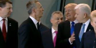 Trump shoving a leader at a NATO summit.