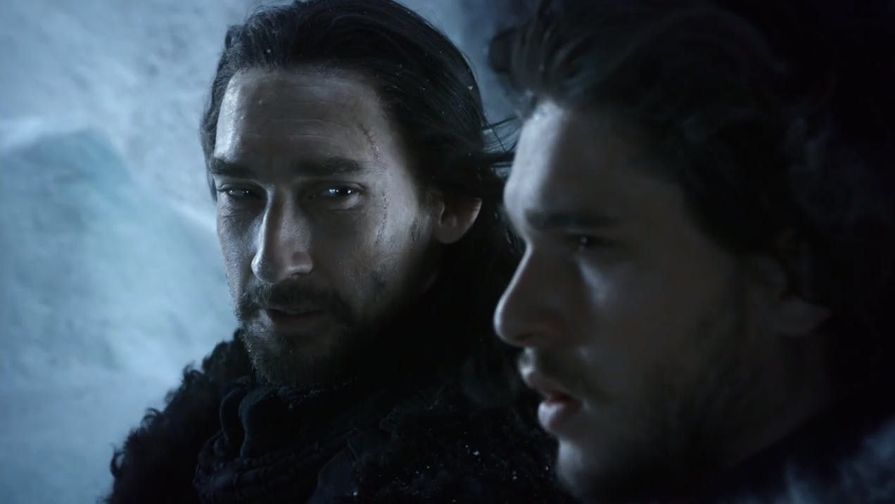Benjen and Jon on top of the Wall