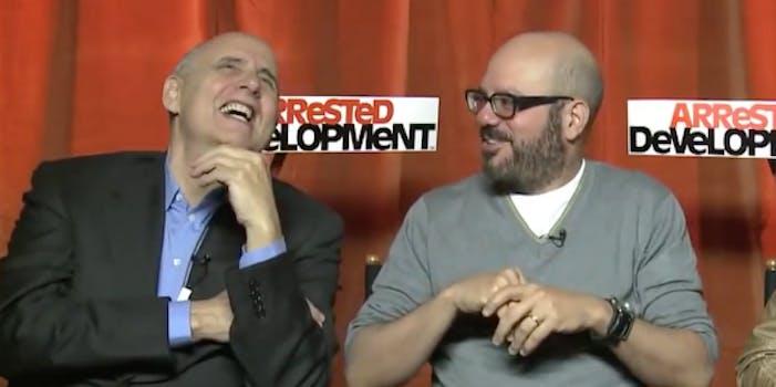 David Cross and Jeffrey Tambor laugh while promoting 'Arrested Development'
