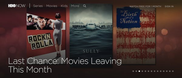 menu of the movie streaming site hbo now
