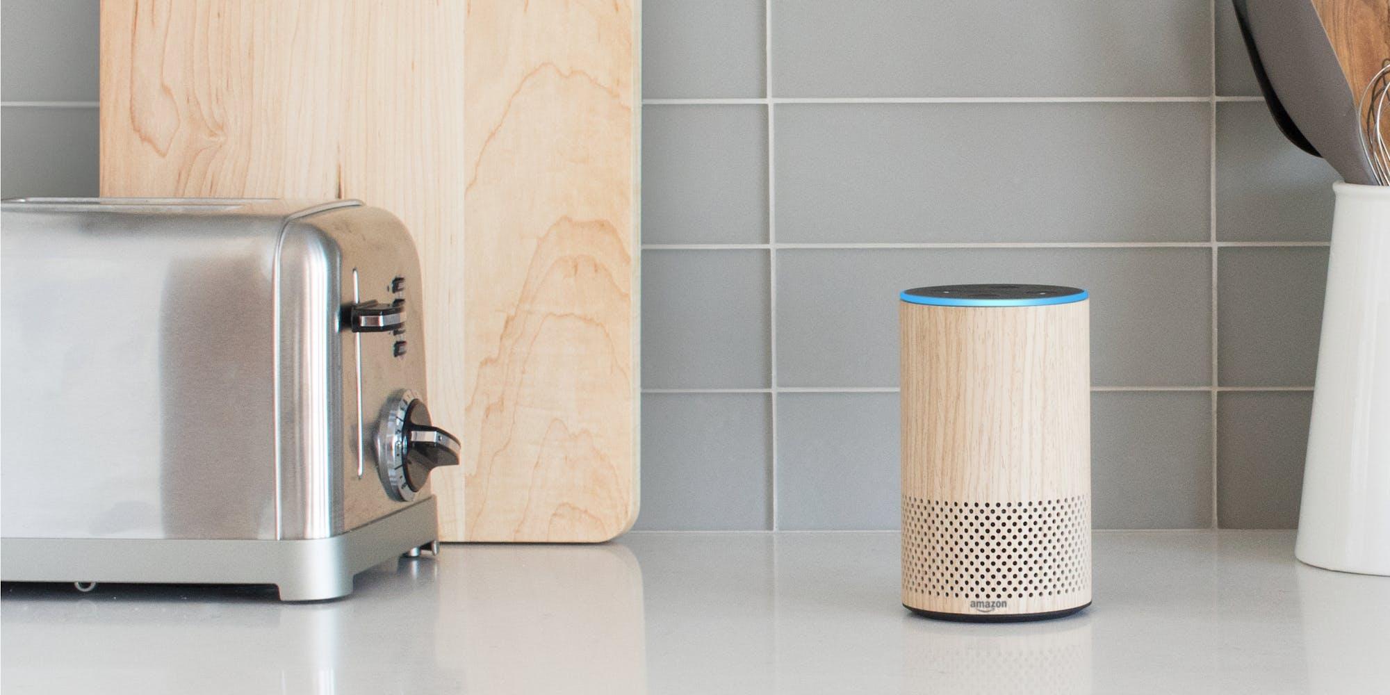 How to use Alexa : Amazon Echo in kitchen next to a toaster