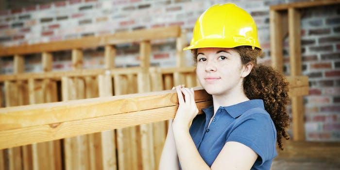 woman construction worker, trade blue collar labor liberal arts degree