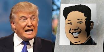 Donald Trump and a Kim Jong un Poster