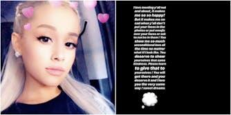 Ariana Grande selfie instagram story