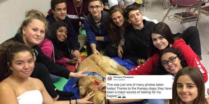 Marjory Stoneman Douglas high school students pet a therapy dog on their first day back after the Parkland, Florida, shooting.
