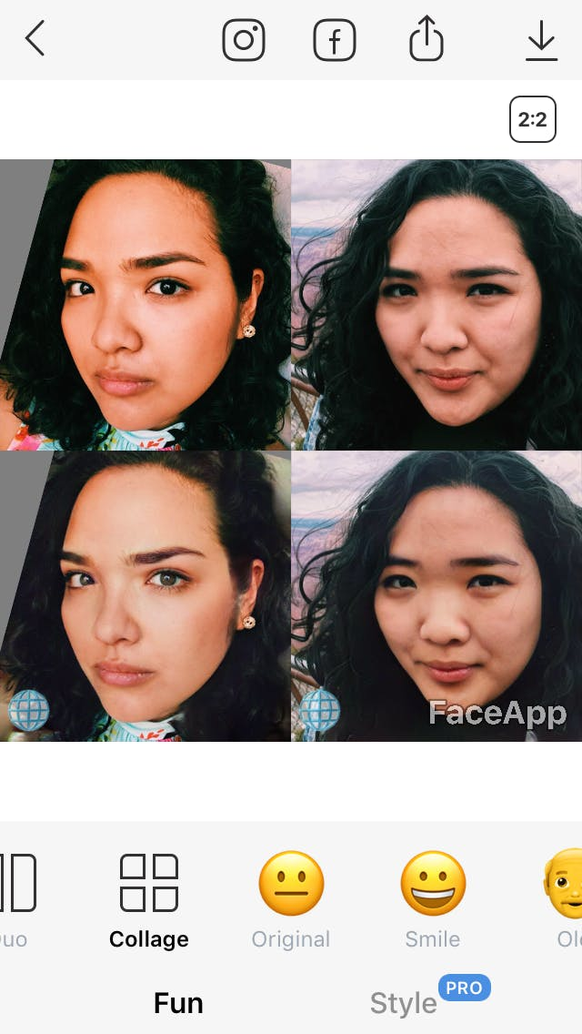 FaceApp photo with
