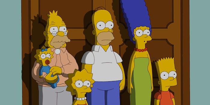 Grandpa, Maggie, Homer, Marge, Lisa and Bart Simpson