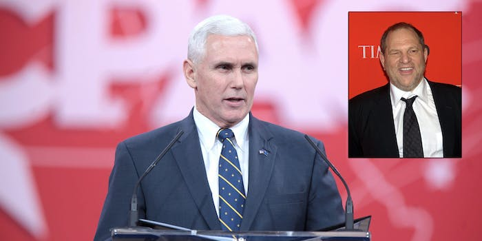Mike Pence and Harvey Weinstein