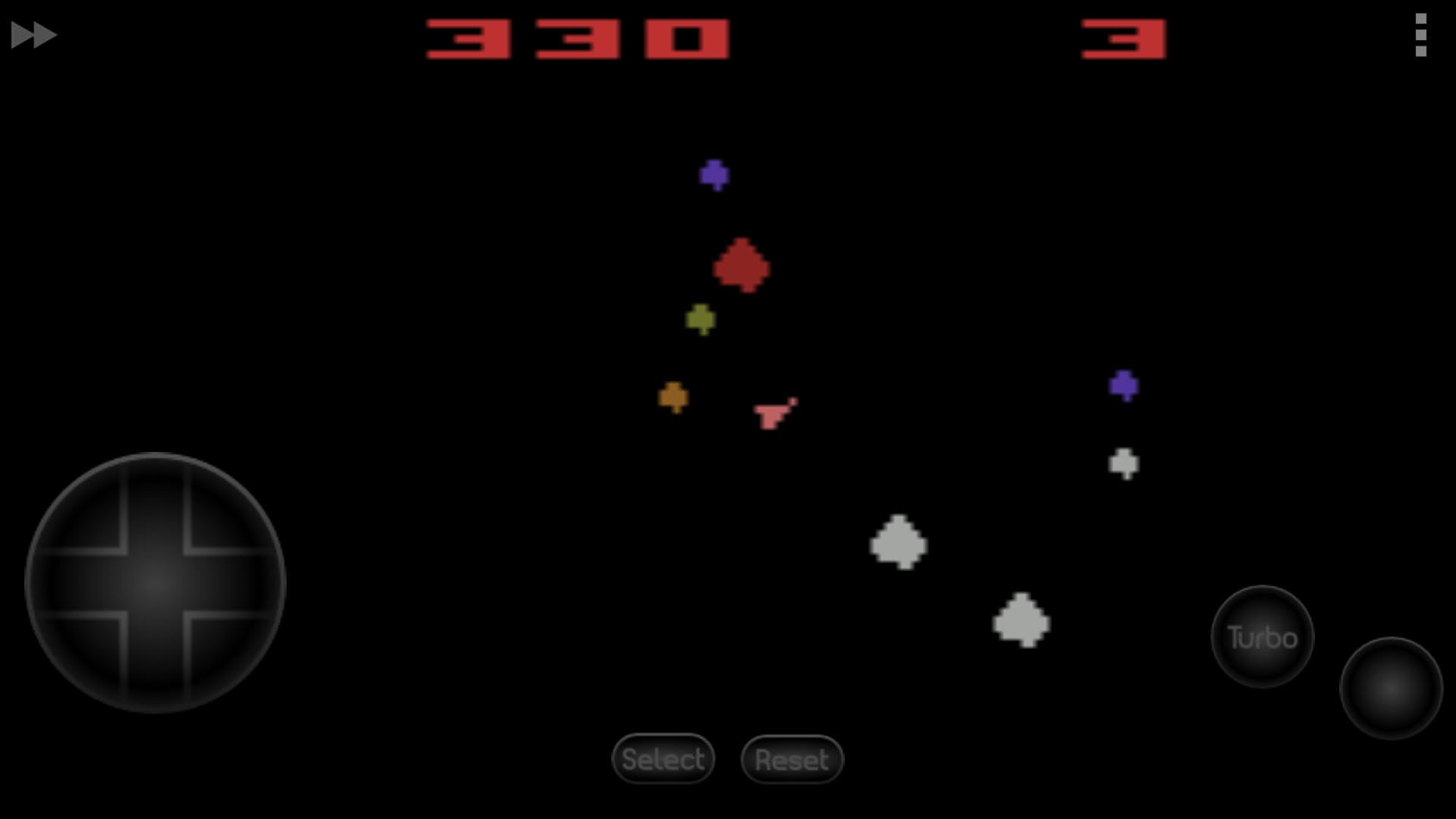 """Asteroids"" emulated on 2600.emu"