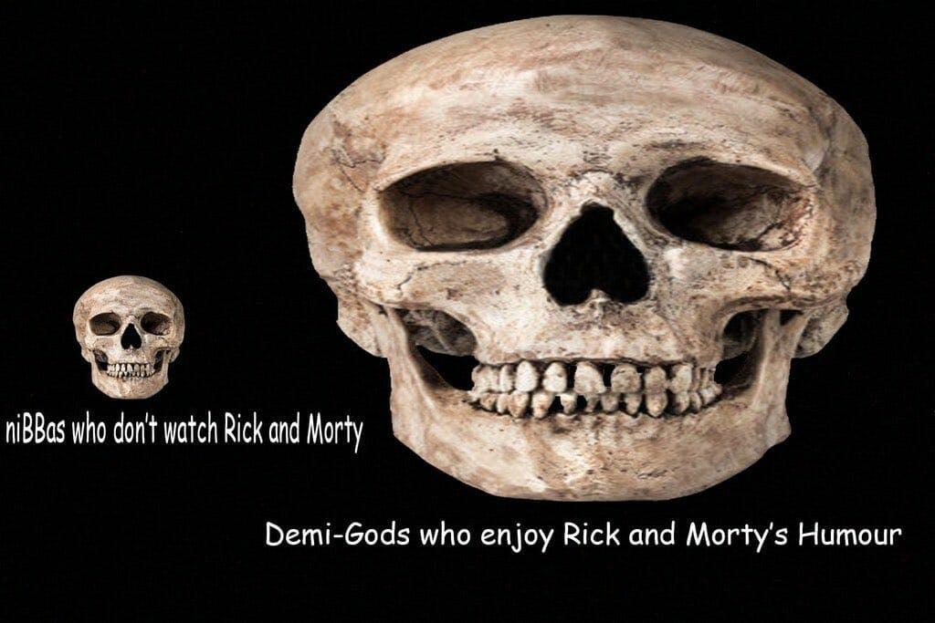 rick and morty fans iq meme giant skull