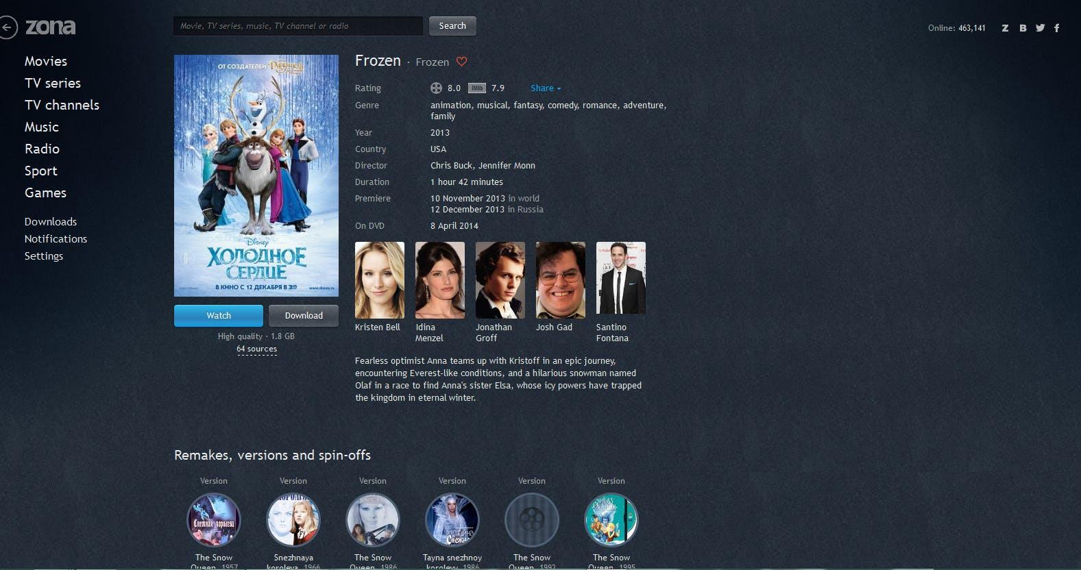 Zona Frozen movie page