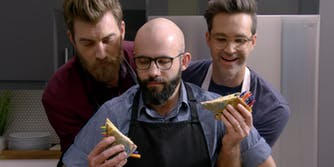 Binging with Babish and Rhett and Link with a Grilled Crayon Sandwich.