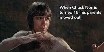 """Chuck Norris in """"Way of The Dragon"""" with """"When Chuck Norris turned 18, his parents moved out"""" caption"""