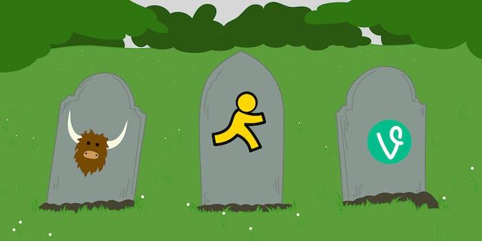 Cartoon depicting the deaths of Yik Yak, AIM Messenger, and Vine