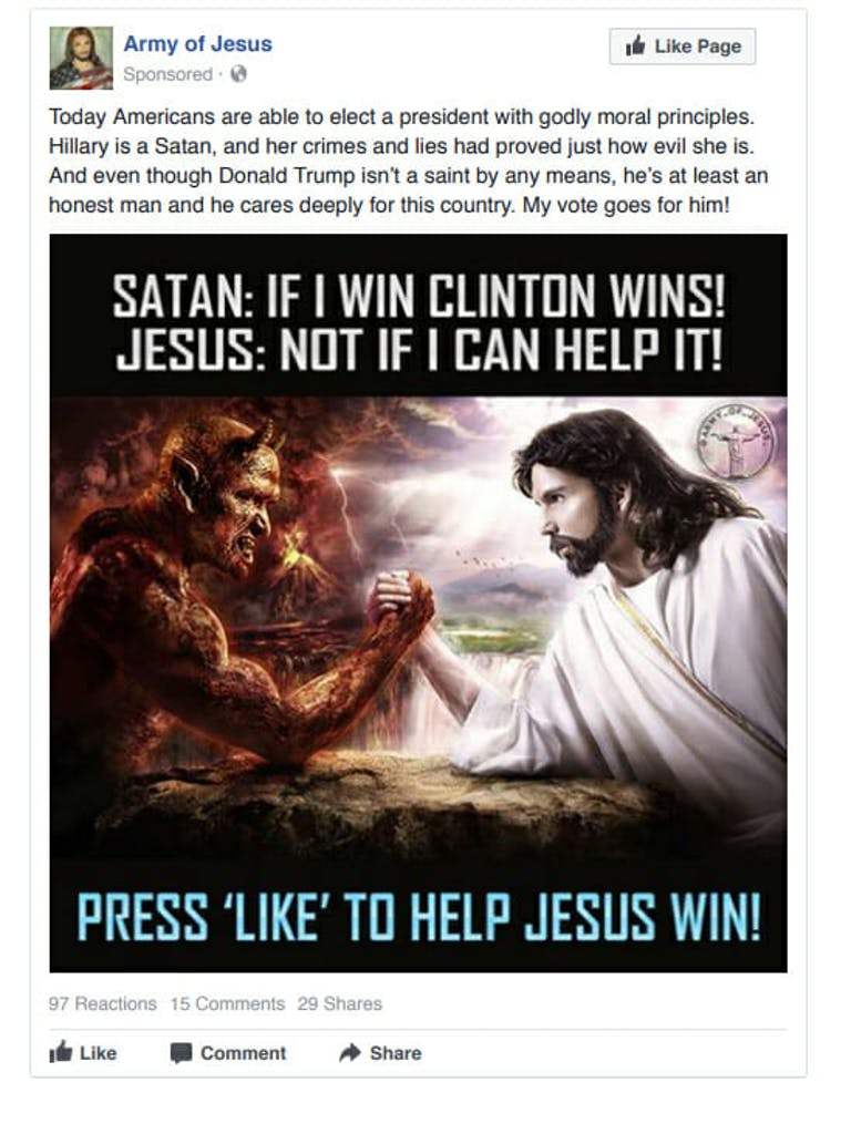 An ad used by Russia on Facebook to influence voters.