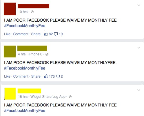 #FacebookMonthlyFee is a harsh mistress