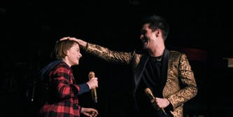 stranger things panic at the disco: noah schapp on stage at madison square garden