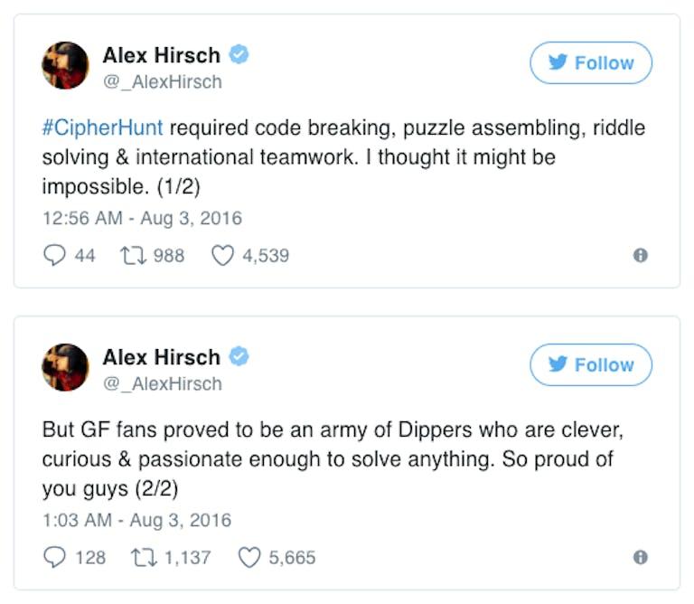 Alex Hirsch congratulates fans on solving the Gravity Falls Bill the Cipher statue scavenger hunt.