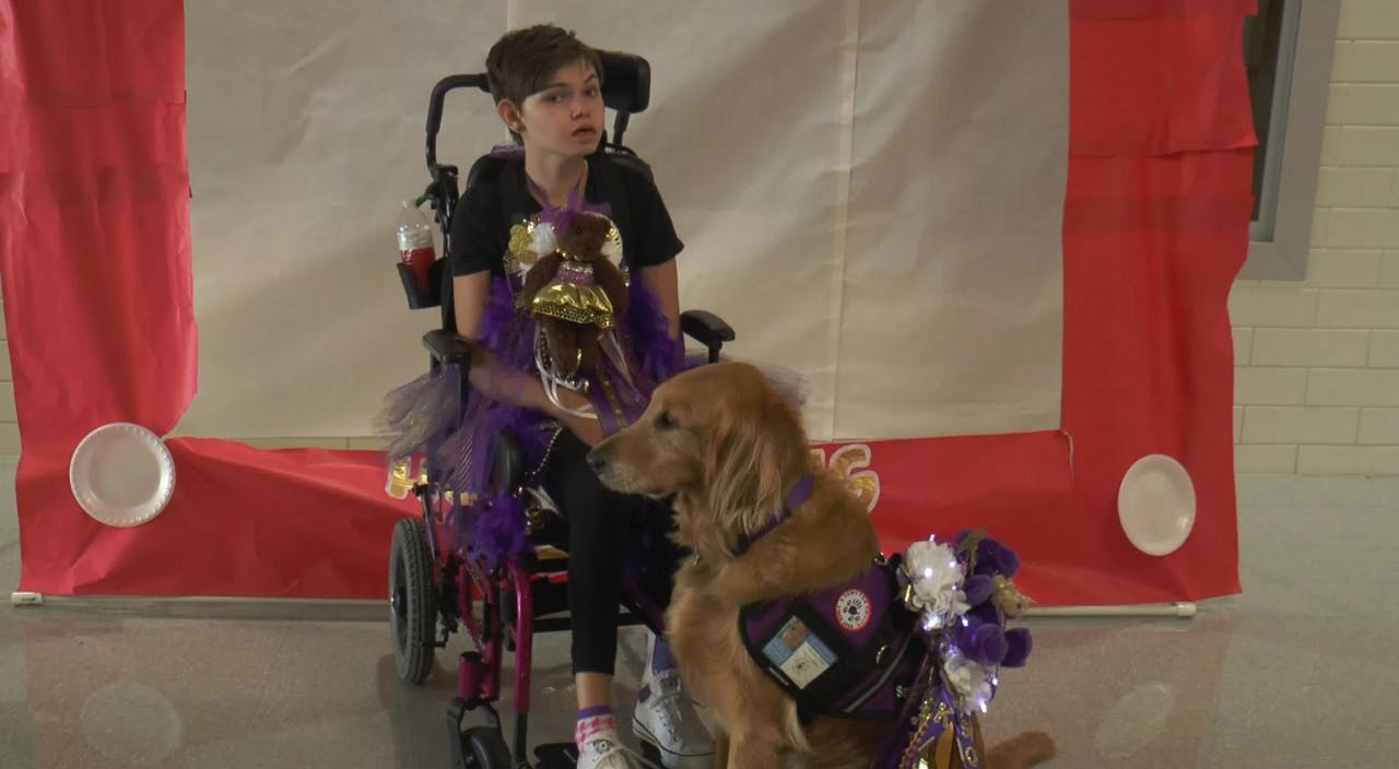 Kathryn Campbell and her service dog Soldier