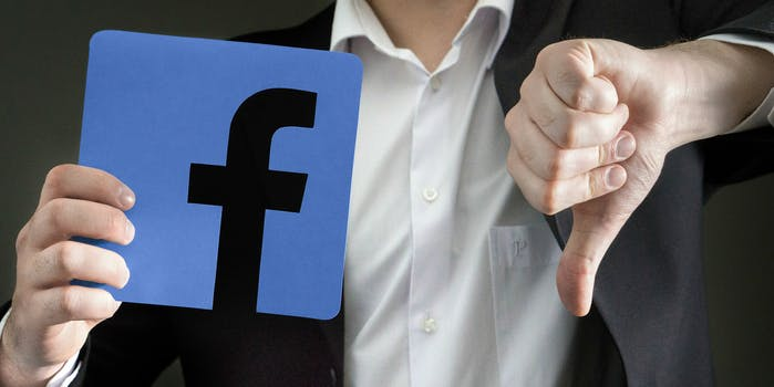 facebook social media thumbs down