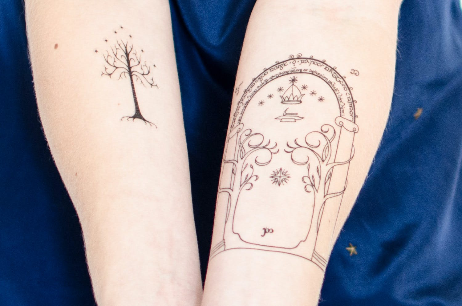 Tree of Gondor and Durin's Door temporary tattoos.