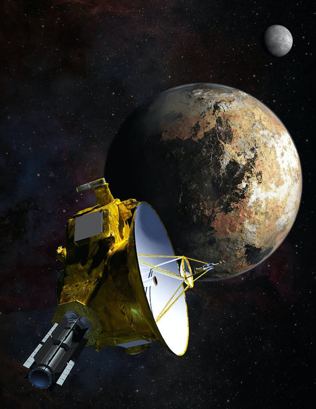 NASA caption: Artist's concept of NASA's New Horizons spacecraft as it passes Pluto and Pluto's largest moon, Charon, in July 2015.
