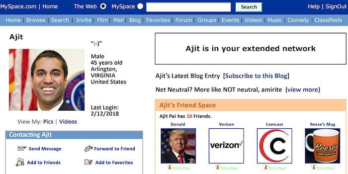FCC Chairman Ajit Pai MySpace page