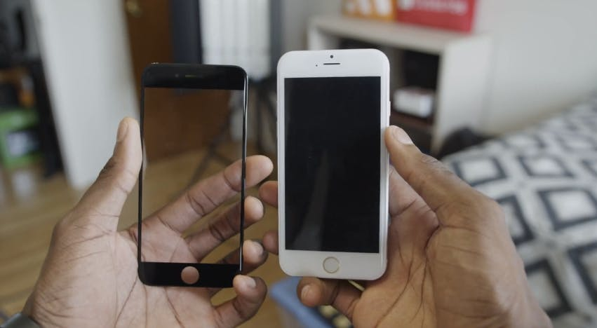 dummy iPhone 6 next to leaked front plate