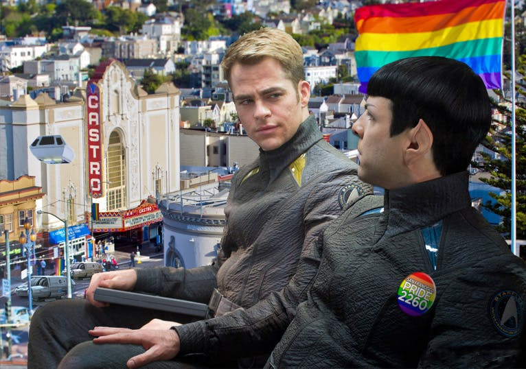 photomanip of Chris Pine and Zach Quinto as Kirk and Spock, wearing pride badges and looking out over hollywood.