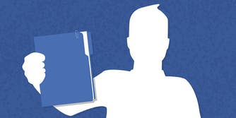 Facebook icon holding resume folder