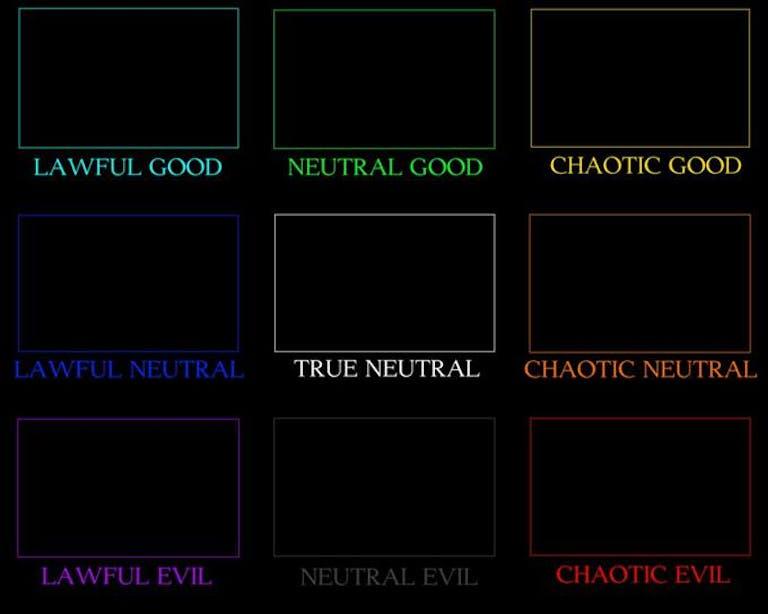 standard d&d alignment chart