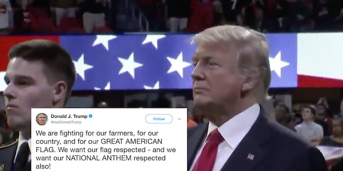 Trump tweets demanding respect for the national anthem and then forgets the lyrics.