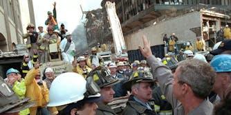 Former President George W. Bush visits Ground Zero.