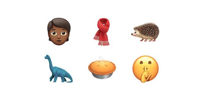 iOS 11.1 Emoji including a scarf, pie, dinosaur